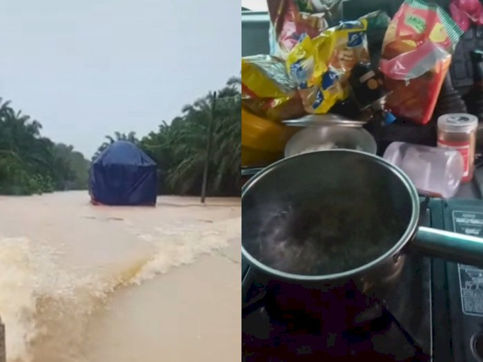 Pengemudi Truk Ini Terjebak Banjir di Tengah Hutan Sawit, Tetap Santai dan Masak Mi Instan