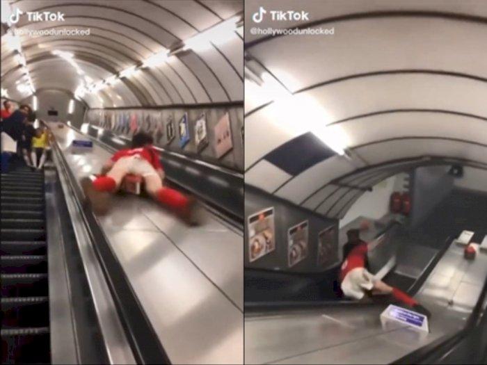 Detik-detik Pria Tergelincir di Pembatas Eskalator Kena Kemaluannya, Begini Nasibnya