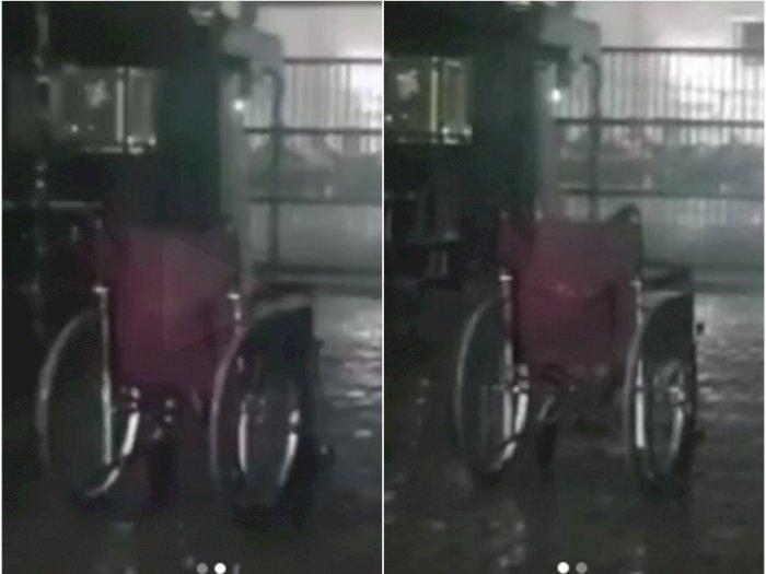 Menyeramkan, Kursi Roda Rumah Sakit Berjalan Sendiri Pada Malam Hari saat Turun Hujan
