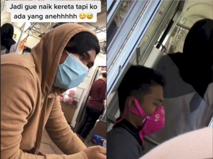 Korban 5-Minute Crafts, Pria Ini Pakai Kutang Pengganti Masker di Dalam Kereta Api