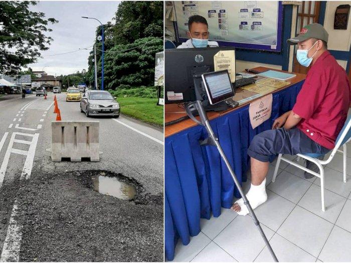 Suami-Istri asal Malaysia Nyaris Tewas Usai Tabrak Jalan Berlubang