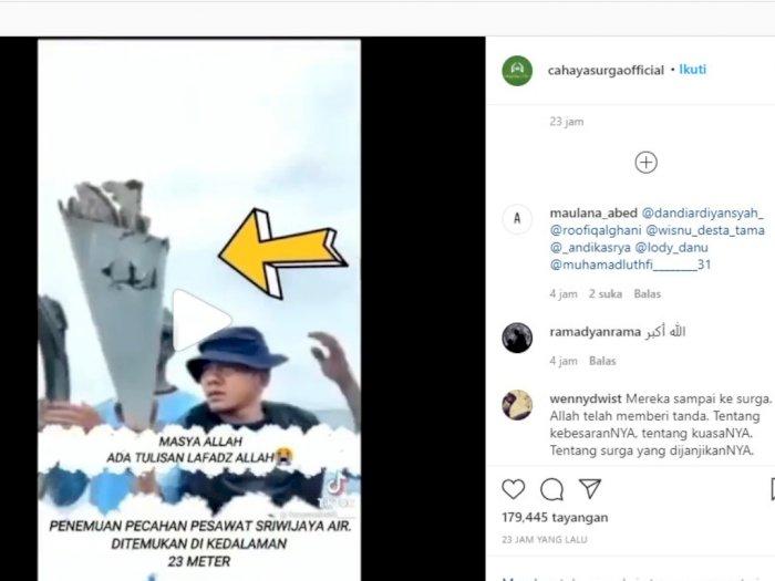 Ada Goresan Mirip Lafadz Allah di Penemuan Serpihan Badan Pesawat Sriwijaya Air SJ182