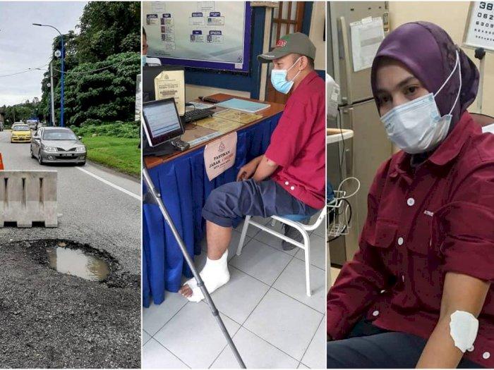 Duh! Gegara Jalan Berlubang, Pasutri Malaysia Ini Terlempar dari Motor, Nyaris Tewas