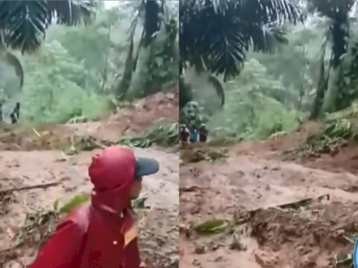 Detik-detik Tanah Longsor saat Warga Hendak Bersihkan Jalan yang Tertutup Tanah