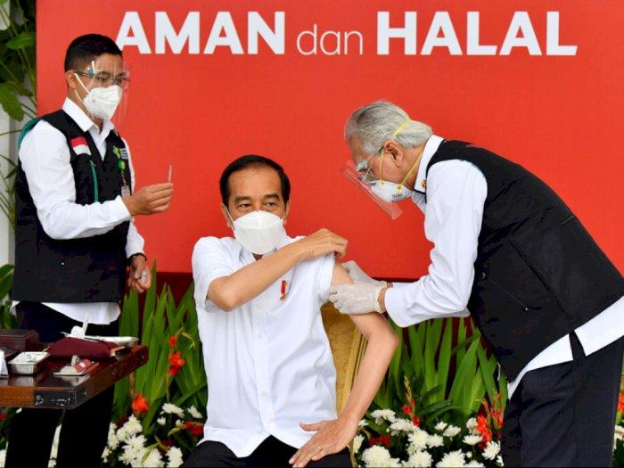 Merasa Sedikit Pegal Usai Divaksin Covid-19, Presiden Jokowi Banjir Ucapan Semoga Sehat