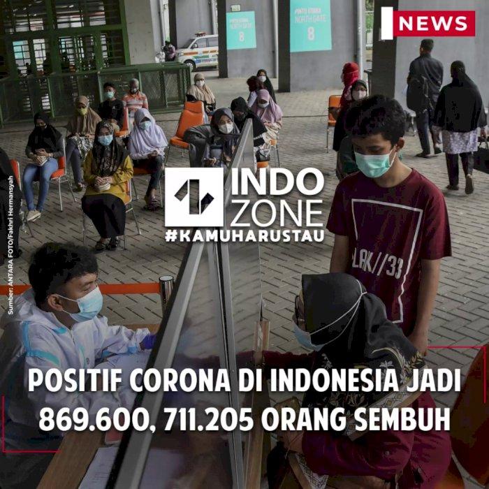 Positif Corona di Indonesia Jadi 869.600, 711.205 Orang Sembuh