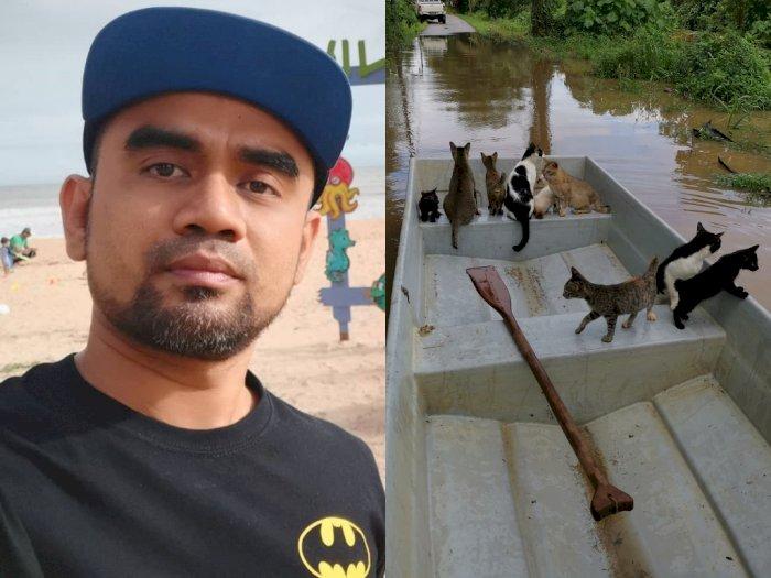 Selamatkan Kucing yang Terjebak Banjir, Pria Ini Dapat Banyak Pujian dari Warganet