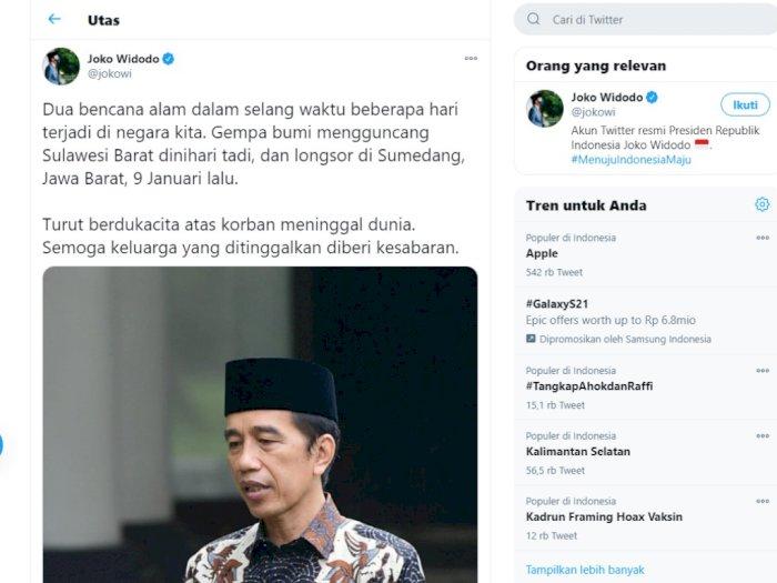 Ucapan Berdukacita Presiden untuk Dua Bencana Alam, Jokowi Lupa Sebut Kalimantan Selatan?