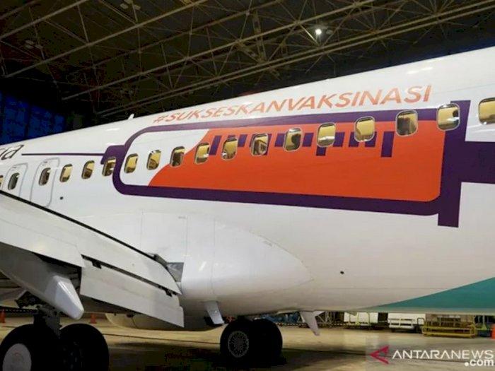 Kampanye Vaksin Nasional, Garuda Indonesia Cat Badan Pesawat Gambar Suntik