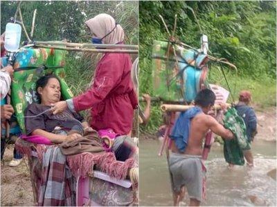 Sedih! Ibu Hamil ini Harus Ditandu Oleh Warga Sejauh 12 Km Ke Pukesmas Karena Jalan Rusak