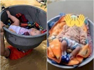Memilukan, Korban Banjir Kalsel Selamatkan Bayi dengan Panci dan Baskom