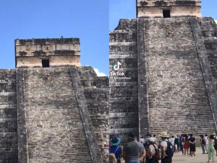 Viral Seorang Wanita Terlihat Mendaki Piramida Maya Kuno yang Tingginya 98 Kaki