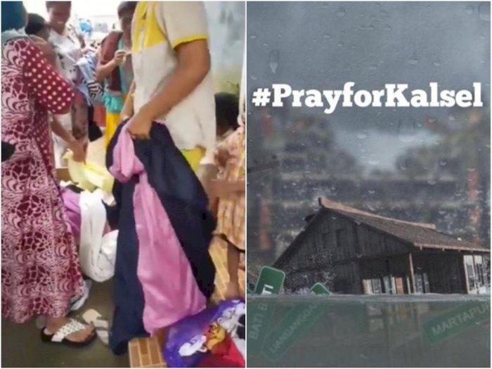 Heboh Korban Banjir di Kalsel Kekurangan Baju, Netizen Salfok Bapak-bapak Pakai Daster