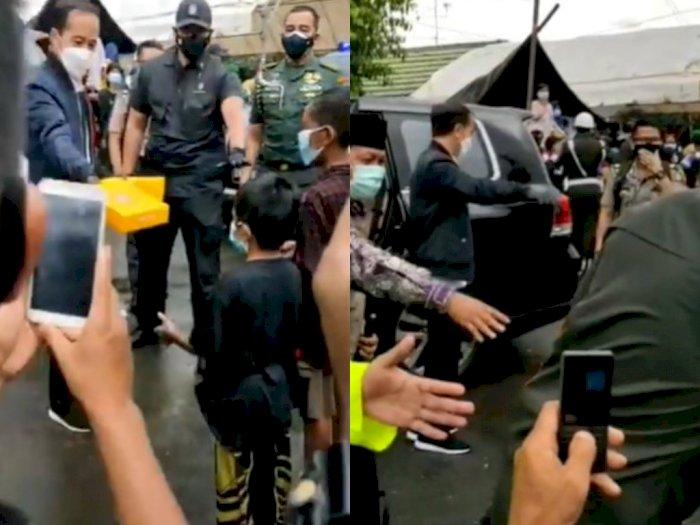 Momen Presiden Jokowi Kunjungi Korban Banjir di Kalsel, Jadi Kerumunan Warga