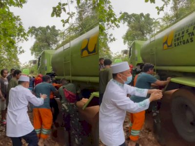 Momen Ustadz Das'ad Latif Semangati Petugas yang Dorong Truk Lewati Jalur Majene-Mamuju