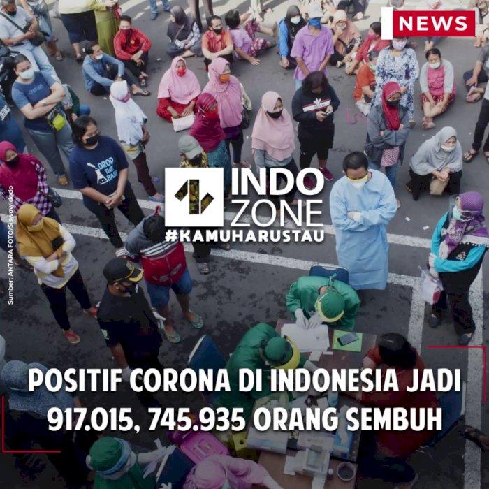 Positif Corona di Indonesia Jadi 917.015, 745.935 Orang Sembuh