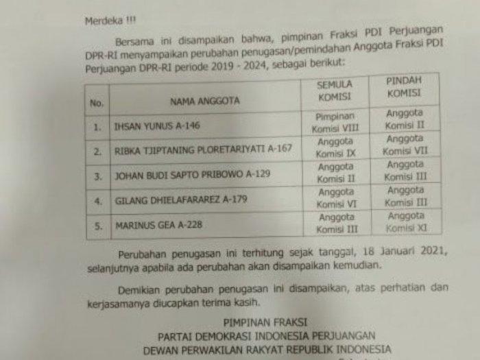 PDIP Rotasi Sejumlah Anggotanya di DPR, Termasuk Ribka Tjiptaning