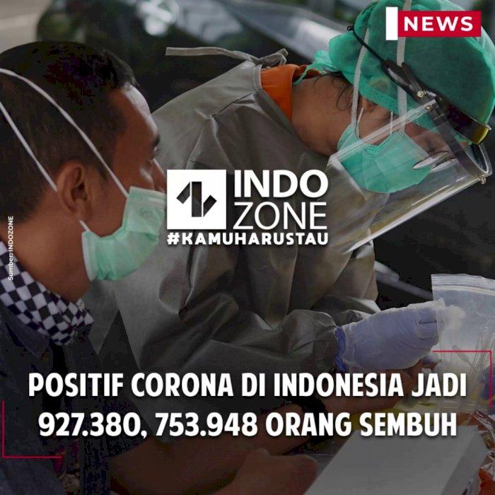 Positif Corona di Indonesia Jadi 927.380, 753.948 Orang Sembuh
