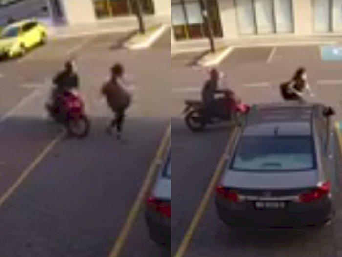 Viral Video Wanita Sendirian di Tempat Parkir Jadi Korban Perampokan, Bikin Netizen Geram