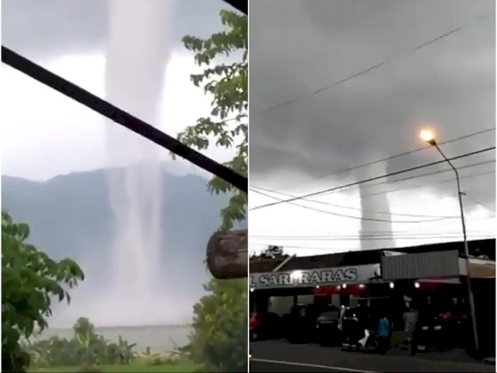 Penampakan Angin Puting Beliung Muncul di Waduk Gajah Mungkur Wonogiri