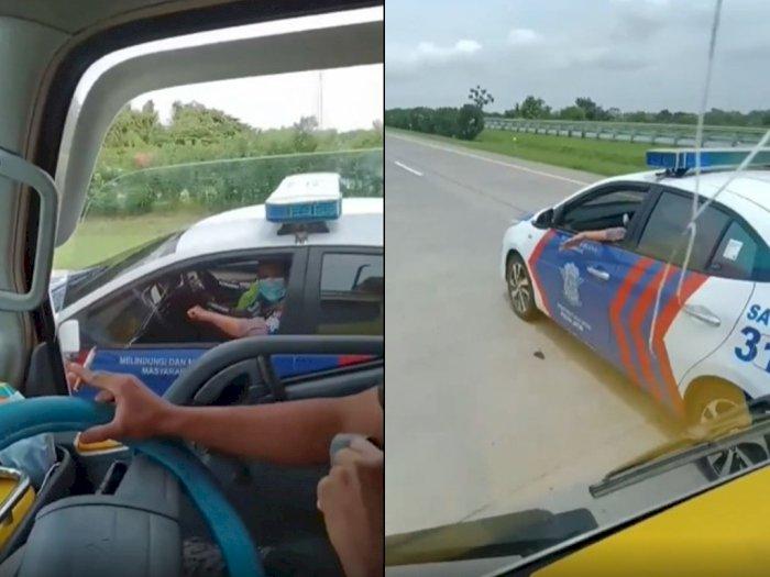 Viral Aksi Kejar-kejaran Sopir Truk dengan Mobil Patroli Polisi, Tuai Kritik Netizen