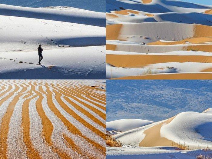 Iklim Makin Berubah, Kini Salju Turun di Gurun Sahara Hingga Arab Saudi