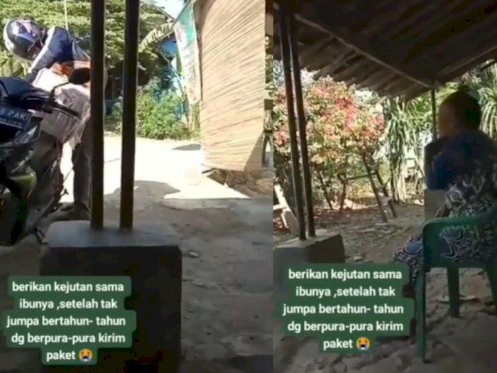 Pria Ini Pura-pura Jadi Tukang Paket untuk Beri Kejutan ke Ibunya, Videonya Bikin Mewek
