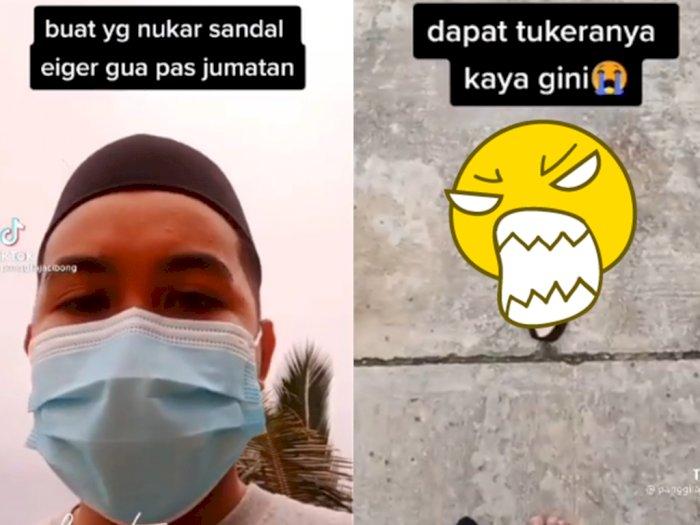 Sial! Pria Ini Jadi Korban Tukar Sandal saat Jumatan, Netizen Prihatin Dapat Ganti Begini
