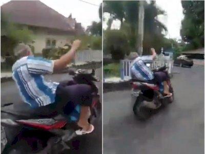 Tak Ingat Umur, Kakek Ini Bawa Motor Ugal-ugalan di Jalan, Bikin Jantungan