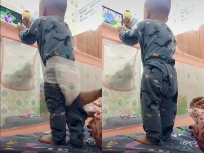 Intip Trik Emak-emak Pasang Popok Tanpa Harus Buka Celana Bayi yang Viral