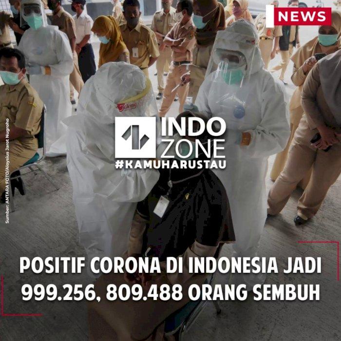 Positif Corona di Indonesia Jadi 999.256, 809.488 Orang Sembuh