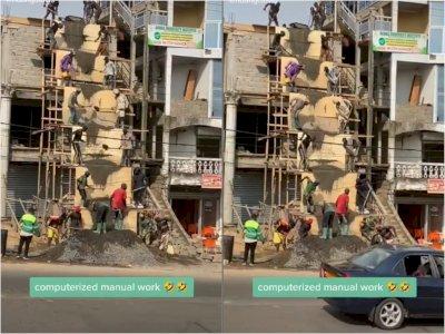 Video Kuli Bangunan yang Kompak Saat Bekerja, Bikin Netizen Takjub