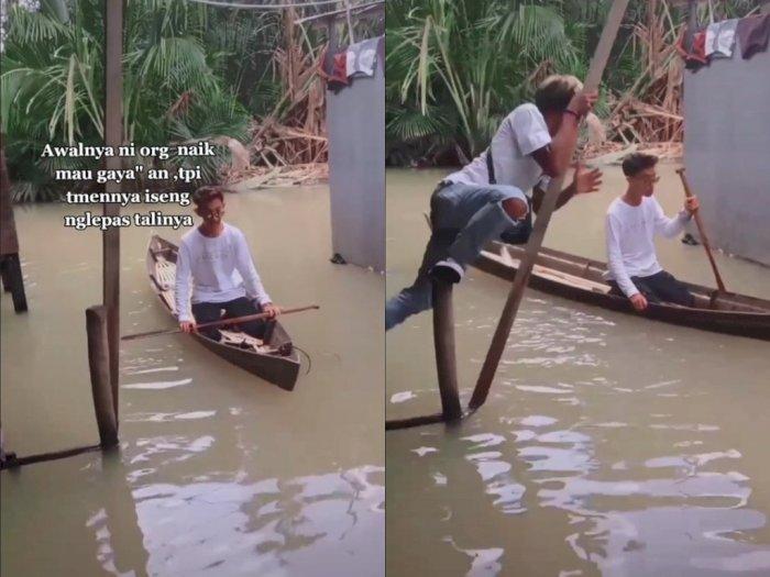Niat Bantuin Teman, Pria Ini Malah Ikut Nyebur ke Genangan Banjir, HP Jadi Korban