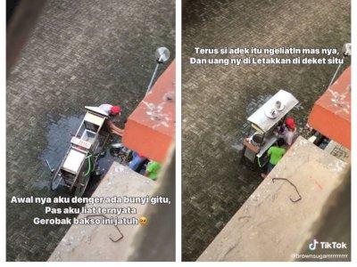 Video Gerobak Bakso Jatuh Viral, Aksi Terpuji Bocah Ini Jadi Sorotan Netizen