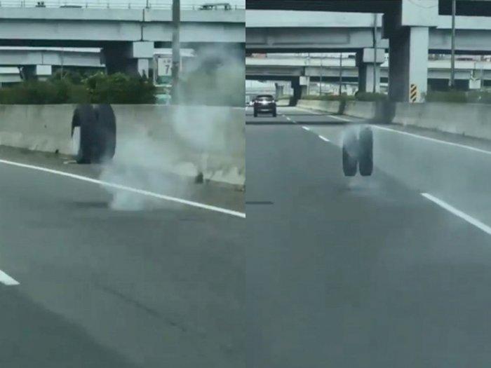 Alami Kecelakaan, Ban Truk Pengangkut Air Menggelinding di Sepanjang Jalan Tol Jagorawi