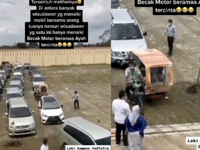 Bikin Haru, Viral Video Ayah di Deli Serdang Antar Anak Wisuda Pakai Becak Motor