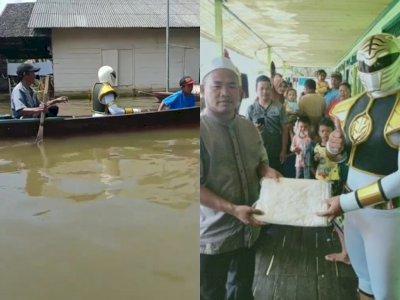 Relawan Pakai Kostum Power Rangers Kunjungi Korban Banjir Kalsel, Bagi Mukena dan Sajadah