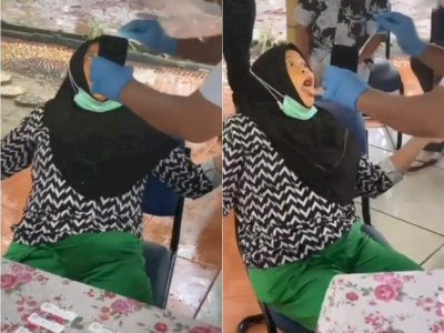 Kocak, Video Emak-emak Latah saat Dites Swab, Tuai Gelak Tawa Netizen