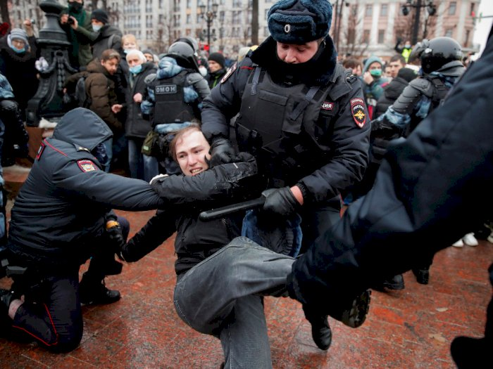Alexei Navalny Ditangkap, Demo Besar Terjadi Rusia, Polisi Tangkap Ribuan Pendemo