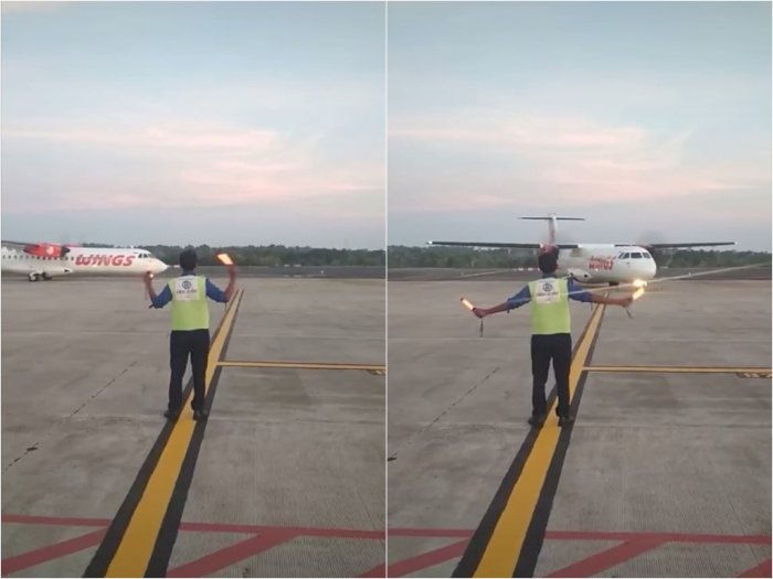 Video Saat Tukang Parkir Pesawat Sedang Bekerja, Netizen: Bayar Parkirnya Berapa Ya