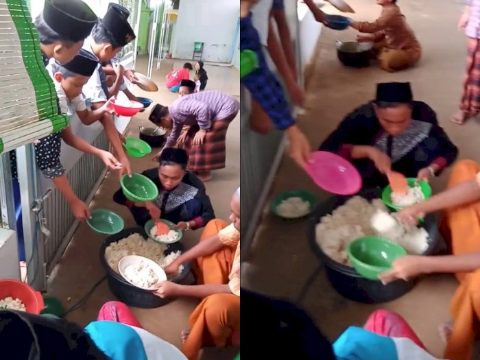 Video Pembagian Makanan Para Santri saat Mondok, Netizen Jadi Ikut Nostalgia
