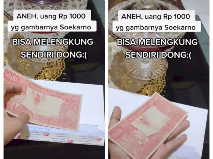 Heboh Uang Pecahan Rp1.000 Bergambar Soekarno Melengkung Sendiri, Sudah Ditawar Rp400 Juta