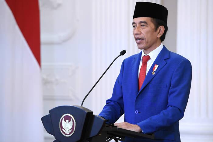 Presiden Joko Widodo menyampaikan pidato untuk ditayangkan dalam Sidang Majelis Umum ke-75 PBB secara virtual di Istana Bogor