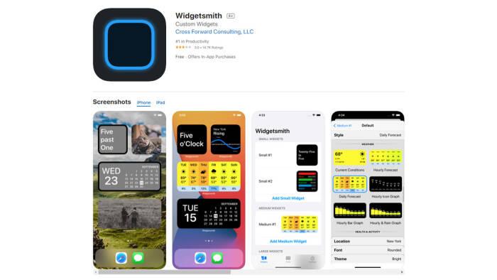 Aplikasi Widgetsmith di Apple App Store