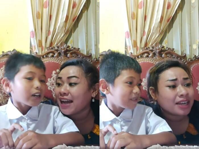 Cuplikan saat tante Lala Manado saat mengajarkan anaknya pancasila saat belajar daring. (photo/Facebook/@Stella Ztart Makarena)