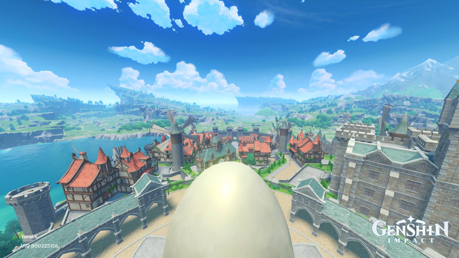 Tampilan kota Mondstadt di game Genshin Impact