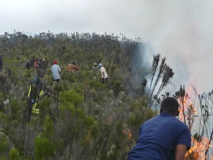 kebakaran di Gunung Kilimanjaro, Afrika