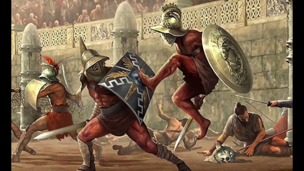 Ilustrasi gladiator di zaman Romawi Kuno.