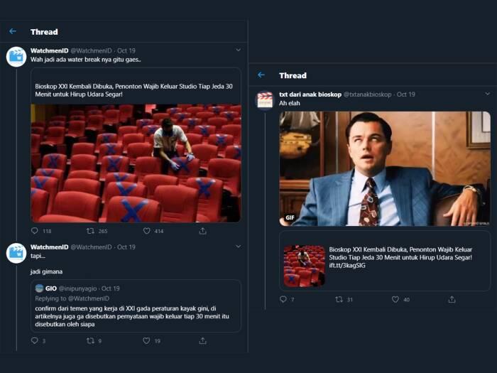 Tangkapan layar komentar warganet yang mempertanyakan aturan penonton bioskop harus keluar setiap 30 menit untuk menghirup udara segar. (photo/Twitter)