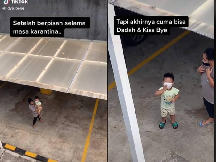 Cuplikan video wanita yang tengah dikarantina dijenguk oleh anaknya. (photo/TikTok/@lidya_beng)